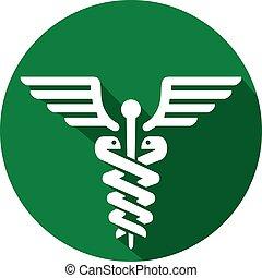 Caduceus medizinisches Symbol flache Ikone.