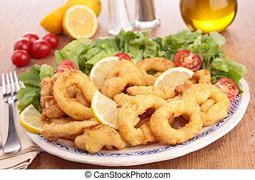 calamari, gebraten, ringe