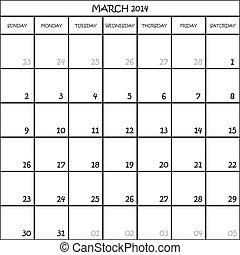 CALENDAR PLANNER MONATE MARCH 2014 AUF TRANSPARENT BACKGROUND.