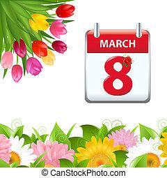 Calendar und Blumengrenze