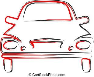 calligraphic, auto, design, ansicht, stilvoll, front