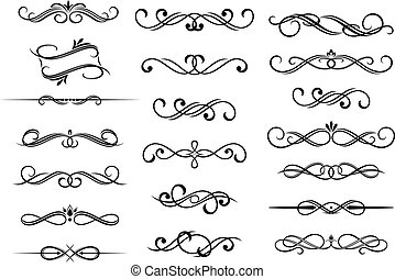 calligraphic, satz, elemente, umrandungen