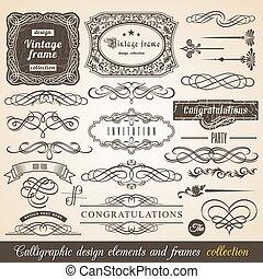 calligraphic, vektor, element
