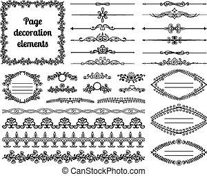 Calligraphische Designelemente für die Seitendekoration. Dividers, Vignettes, Scrolls, Rahmen und Grenzen