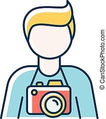 cameraman., vektor, photographie, freiberuflich, abbildung, camerist., freigestellt, blaues, art., paparazzi, photojournalist, foto, angestellter, fotograf, studio, farbe, professionell, bediener, rgb, icon.