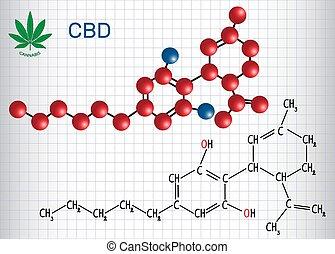 Cannabidiol (CBD) - Strukturelle chemische Formel und Molekülmodell. Aktiver Cannabinoid in Cannabis hat antipsychotische Effekte. Papierschere in einem Käfig
