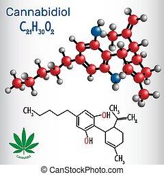 Cannabidiol (CBD) - Strukturelle chemische Formel und Molekülmodell. Aktiver Cannabinoid in Cannabis hat antipsychotische Effekte