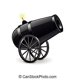 Cannon auf weißem Vektor isoliert.