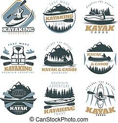 Canoe kayak emblem Set.