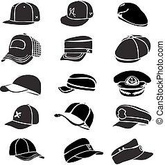 Cap, isoliert auf weißem Hut Ikonen Vektor Baseball Rap.
