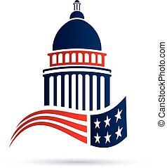Capitol Gebäude Logo mit amerikanischer Flagge. Vector Design