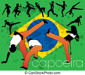 Capoeira Silhouettes Set.