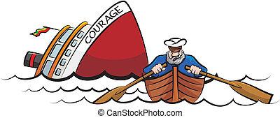 Captain flieht vor dem sinkenden Schiff