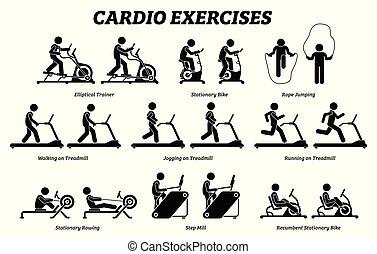 Cardioübungen und Fitnesstraining im Fitnessstudio.
