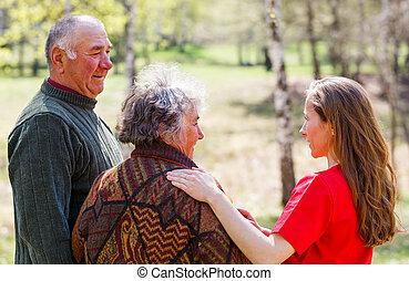 caregiver, alten paaren, junger