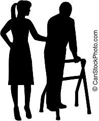 Caregiver Silhouette mit älteren Menschen.