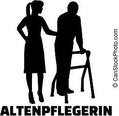 Caregiver Silhouette weiblichen Job Titel Deutsche.
