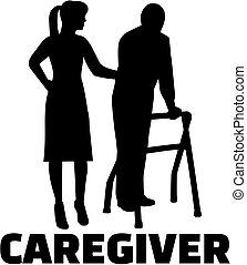 Caregiver Silhouette weiblichen Job Titel.