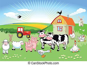 Carton Farm Tiere.