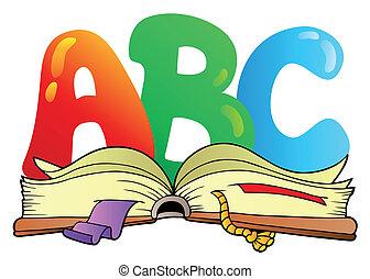 Cartoon ABC-Briefe mit offenem Buch
