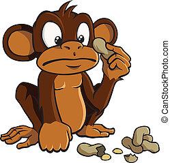 Cartoon-Affe mit Erdnüssen
