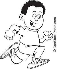 Cartoon Afro-Junge läuft