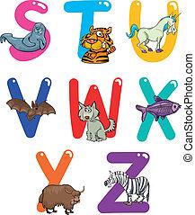 Cartoon-Alphabet mit Tieren