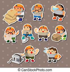 Cartoon Arbeiteraufkleber