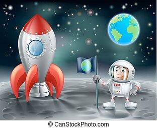 Cartoon Astronaut und klassische Weltraumrakete auf dem Mond