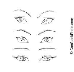 Cartoon-Augen eingestellt. Vector