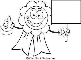 Cartoon Auszeichnung mit einem Zeichen