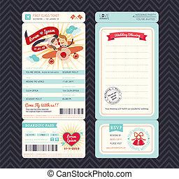 Cartoon Bordkarte Ticket Hochzeitseinladung Vorlage Vektor.