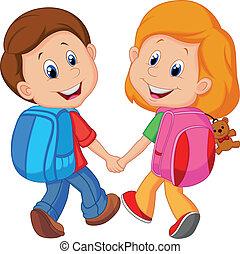 Cartoon Boy und Mädchen mit Rucksäcken.