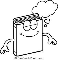 Cartoon-Buch träumt.