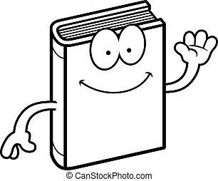 Cartoon-Buch winkt.