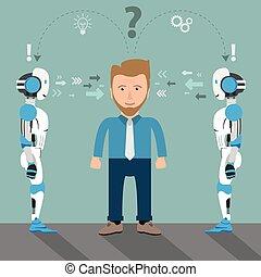 Cartoon Businessman 2 Roboter Problemlösung