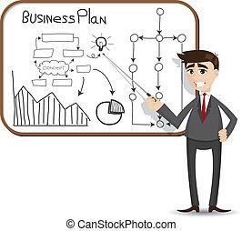 Cartoon Businessman Präsentation mit Geschäftsplan.