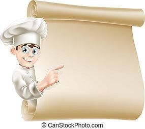 Cartoon-Chef und Menü