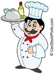 Cartoon Chefkoch hält Essen und Wein