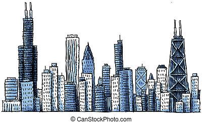 Cartoon chicago skyline.