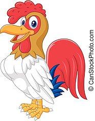 Cartoon Chicken Hahn posiert.