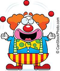 Cartoon Clown jongliert.