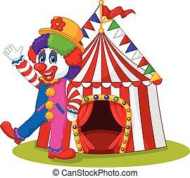 Cartoon Clown winkt mit der Hand.