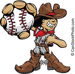 Cartoon Cowboy Baseballspieler