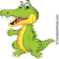 Cartoon Crocodile posing.