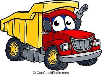 Cartoon Deponie Truck Charakter.