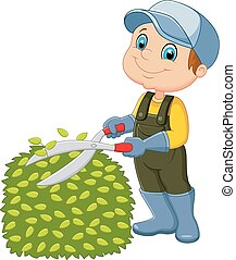 Cartoon, der Mann, der Gras schneidet.