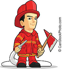 Cartoon des Feuerwehrmanns