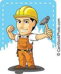 Cartoon des industriellen Baus