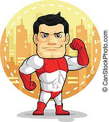 Cartoon des Superhelden